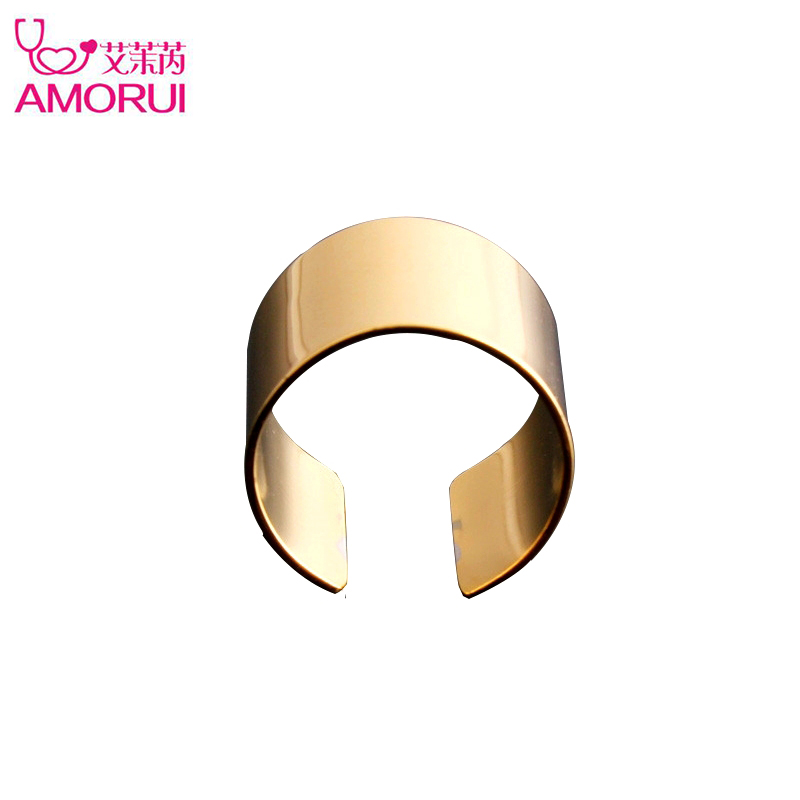 AMORUI Fashion Simple Stainless Steel Openning Wedding Band Rings for Women Rose Gold Gold Silver Color Engagement Ring Jewelry