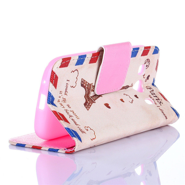 Leather Wallet Card Hard Case Cover For Samsung Galaxy Ace 4 SM-G357FZ