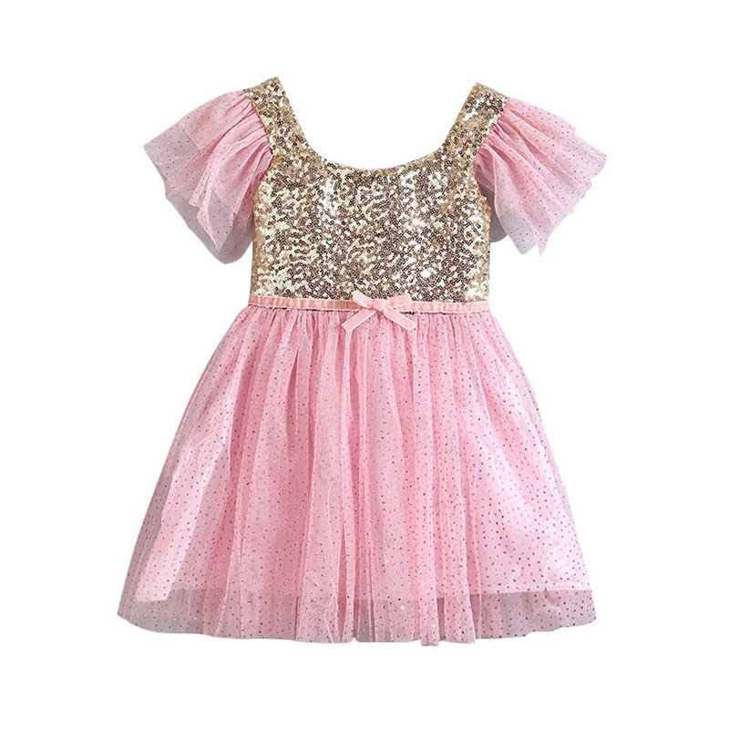 Sequin Flower Girl Dress Party Birthday wedding princess Toddler baby Girls Clothes Children Kids Girl Dresses LQW851 flower girls dress 11 color with rose party birthday chirstening dress for baby girl princess children toddler girl vest dresses