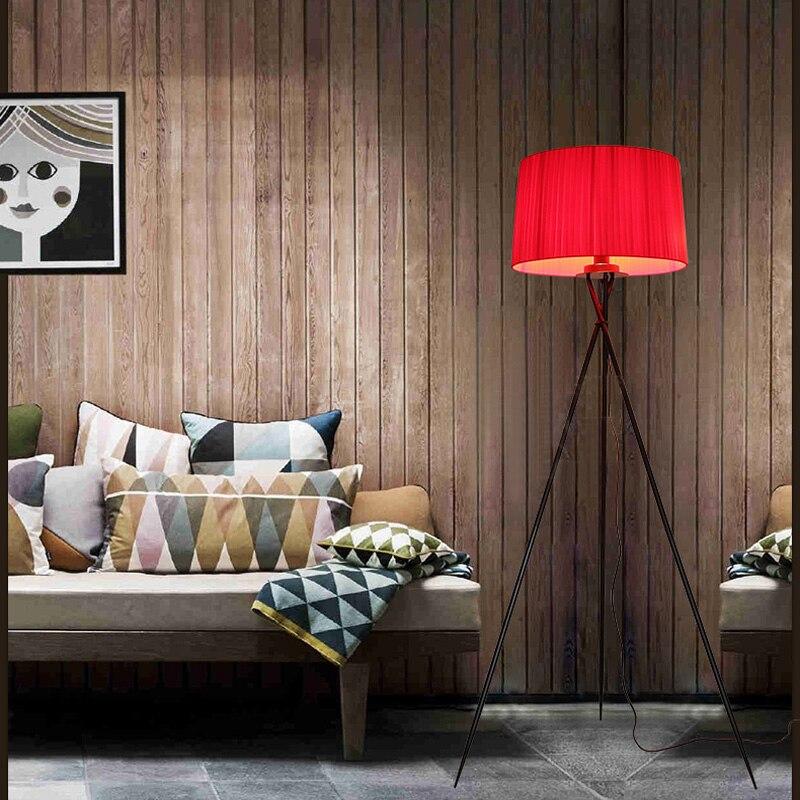 Nouveau moderne minimaliste 3 jambe trépied lampadaire tissu abat-jour créatif lampadaire pour salon se dresse lampes FL8 - 3