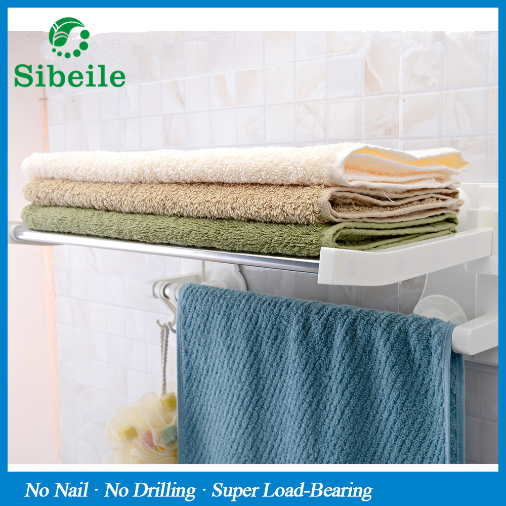 SBLE Wall mounted suction cup single layer bathroom towel rack with ...