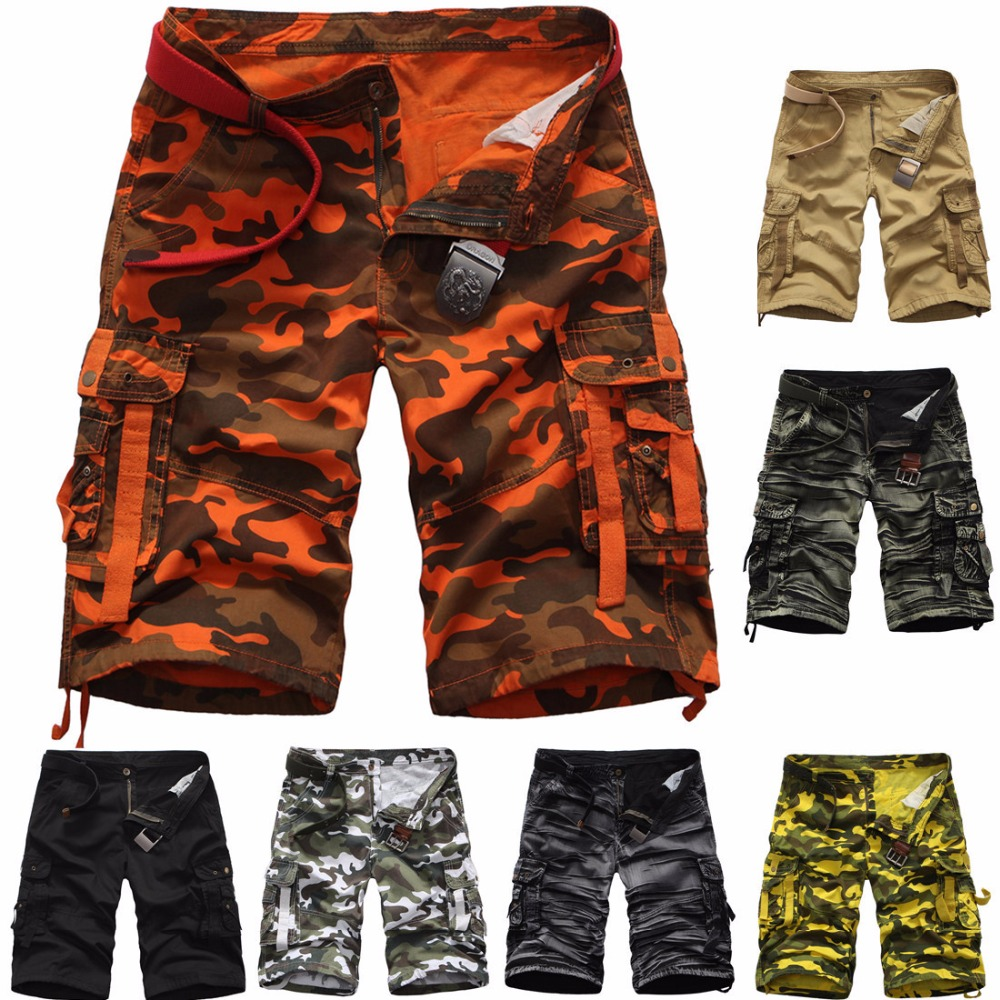 EL BARCO Cotton Camouflage Casual Shorts Men Summer Black Khaki Yellow Military Army-Green Orange Grey Male Cargo Shorts Trouser