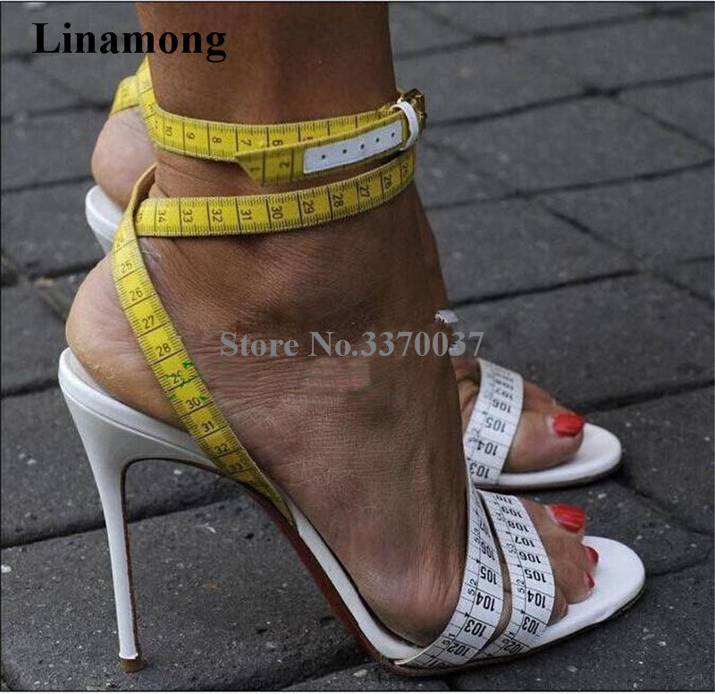 Summer Unique Design Ruler Cross High Heel Sandals Charming Ankle Straps Rulers High Heel Sandals Sexy