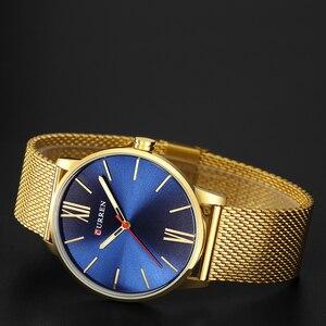 Image 4 - Moda złoty zegarek męski Curren zegarki kwarcowe pełne nierdzewne pasek stalowy Relogio Masculino prosty zegarek na rękę