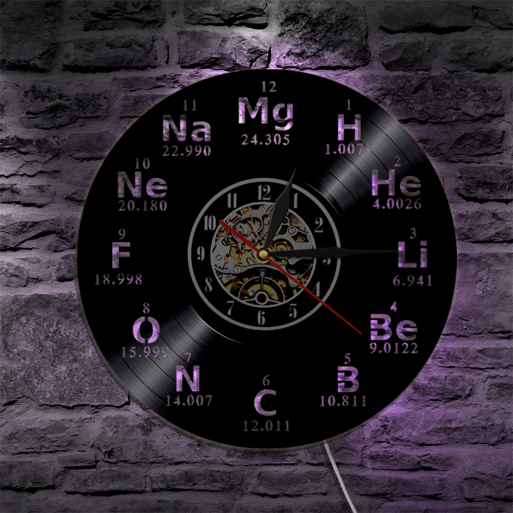 1piece chemical element periodic table wall clock lighting 1piece chemical element periodic table wall clock lighting silhouette wall light led backlight gift for chemical student teacher in wall lamps from lights urtaz Images