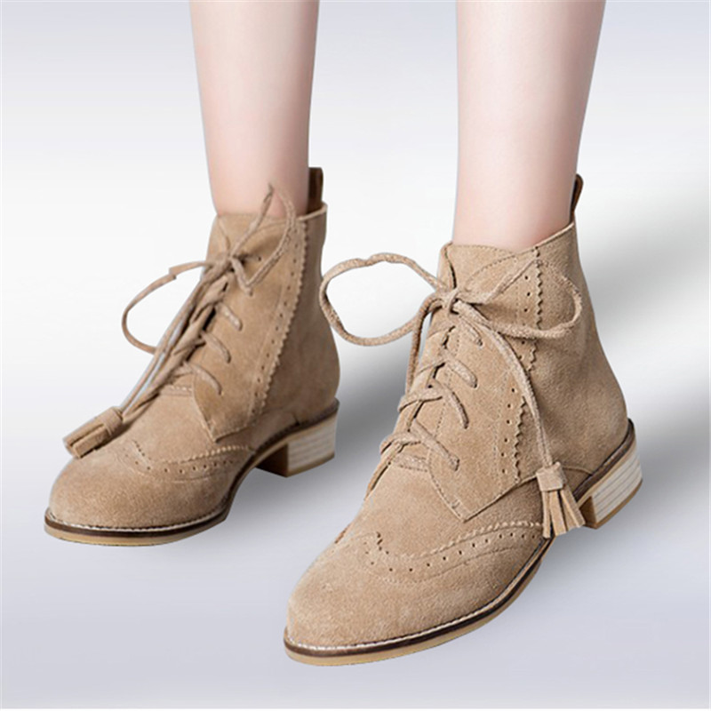 plus size 34-43 Fashion Punk Genuine Leather Ankle Boots Carving Flats Round Toe Tassel lace up Casual Martin Boots Women Shoes odetina fashion genuine leather ankle boots flat woman round toe platform lace up boots autumn winter casual shoes big size 43