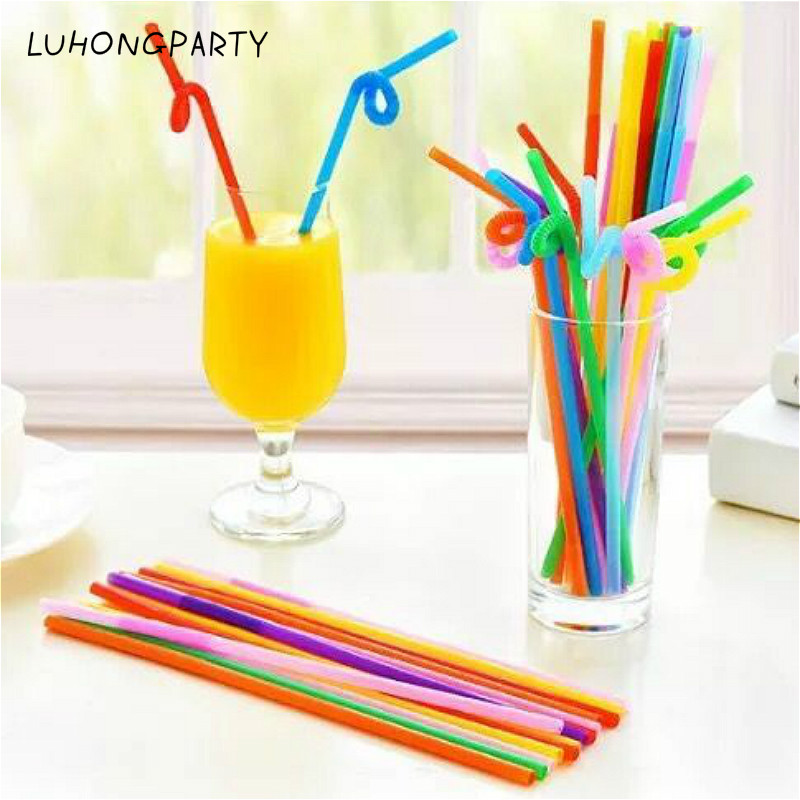 50pcs/Lot Plastic Drinking Straw Multicolor Wedding Party Straws Event Party Supplies Happy Birthday Decoration LUHONGPARTY