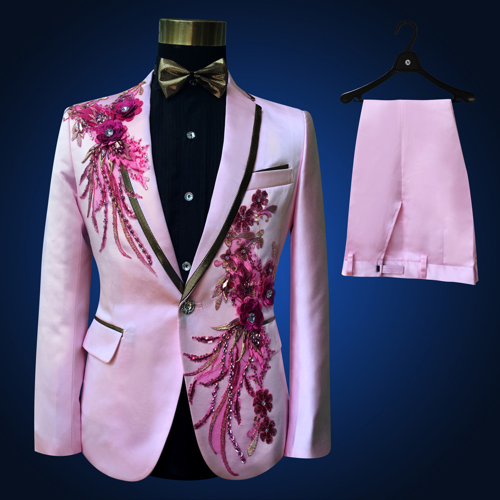 Pink Tuxedo Jacket +pant Beads Suit Mens Stage Wearmens Tuxedos Wedding Plus Size 4XL Pink Royal Blue White Black Red Groom Suit
