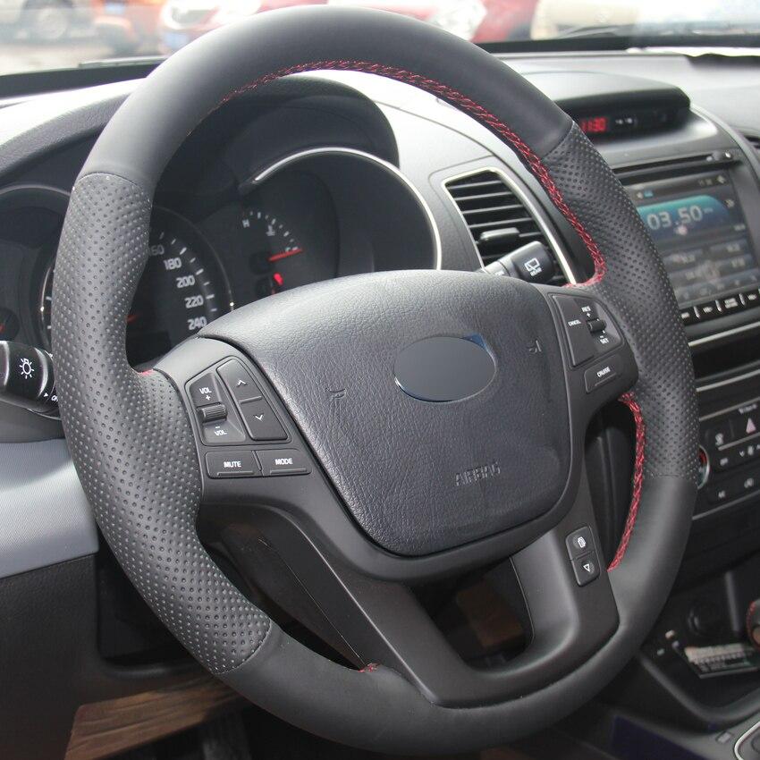 Black Leather Hand-stitched Car Steering Wheel Cover for Kia Sorento 2009-2014 Kia Cadenza K7 2011-2015