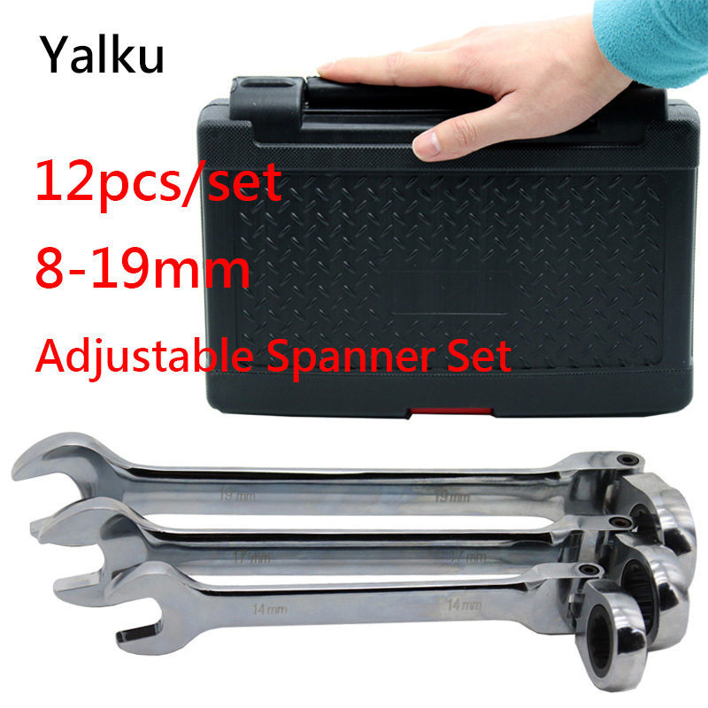 Yalku Ratchet Wrench Ratcheting Socket Spanner Repair Tool Wrench Set Hand Tool Kit Ratchet Spanner Set 8-19mm With Box 12pcs yalku multifunction adjustable spanner universal wrench repair tool kit combination ratchet wrench set ratcheting spanner 7pcs