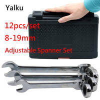 Yalku Ratchet Wrench Ratcheting Socket Spanner Repair Tool Wrench Set Hand Tool Kit Ratchet Spanner Set 8 19mm With Box 12pcs