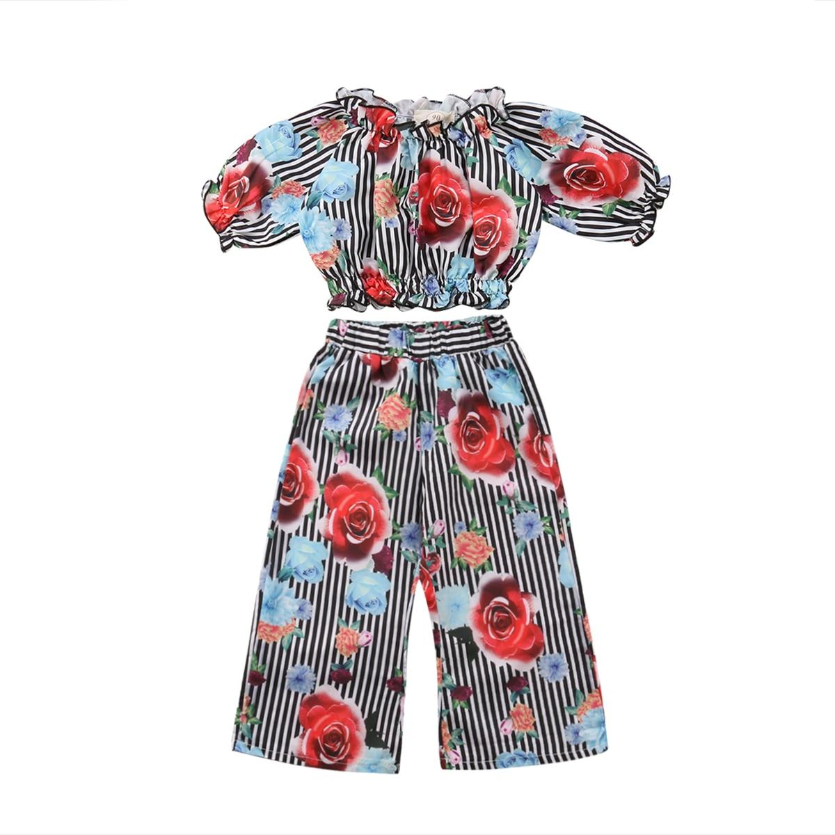 2PCS Set Kids Baby Girls Print T-shirt Tank Tops+Loose Wide Leg Pant Striped Outfits Clothes