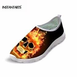 INSTANTARTS Sommer Breathable Beiläufige Mesh Schuhe Männer Kühlen Feuer Schädel Print Slip-on Flache Schuhe für Jungen Teenager Freizeit turnschuhe