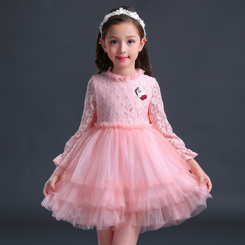 Girls Clothing  2017 Flower Girl Dresses Baby Girl Clothes for  Kids Party Princess Long Sleeve Tutu Dress 4 6 10 14  Years Old toddler girl princess dress flower kids dresses for baby girls clothes dresses for party and wedding clothing 13 color choose
