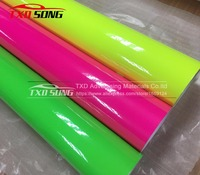 Premium quality Glossy Fluorescent Vinyl Sticker for Car Wrapping 3 Layers Fluorescent film Glossy fluorescent car wrap film