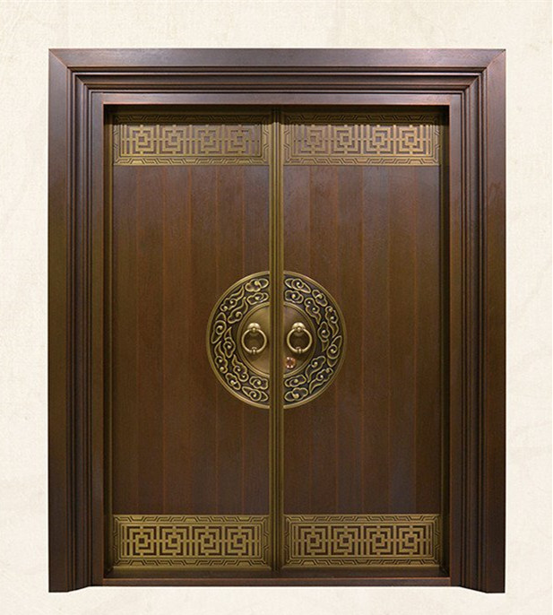 Bronze Door Security Copper Entry Doors Antique Copper Retro Door Double Gate Entry Doors H-c14
