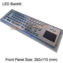 64 Backlighted keys stainless steel keyboard with trackpad/touchpad, metallic backlit keyboard, illuminated kiosk keyboard(China)