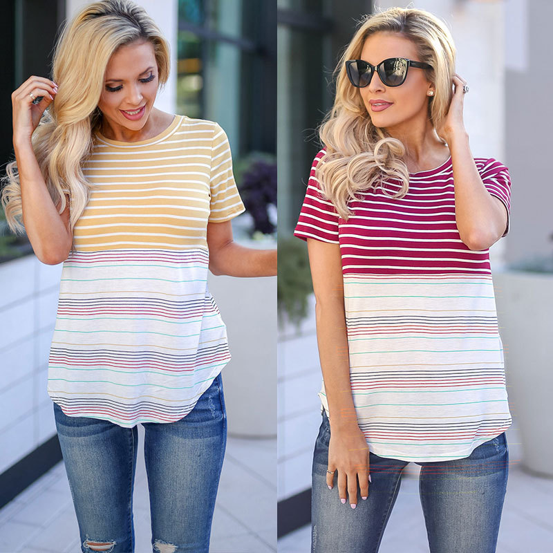 Women summer new striped stitching casual T shirt short sleeve ladies tops vintage tshirt streetwear clothes 2019 in T Shirts from Women 39 s Clothing