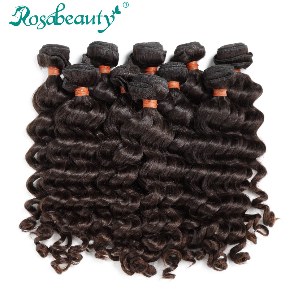 Rosabeauty Brazilian Virgin Hair Loose Deep Wave 10Pcs Lot Human Hair Weave Bundles Natural Color Free