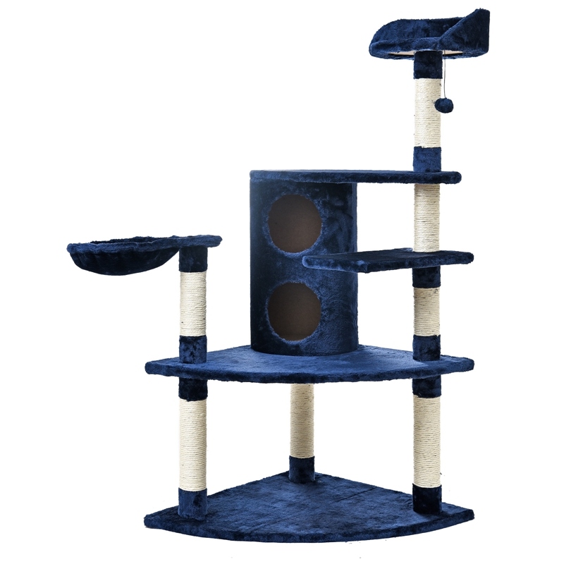 domestic delivery luxury blue cat furniture cat jumping toy ladder wood scratching post climbing tree cat cat safe furniture