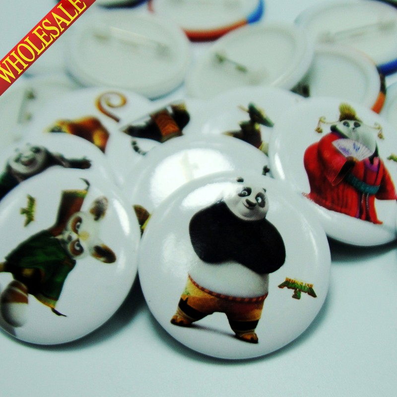 18PCS Kung Fu Panda 30mm Diameter Cartoon Character Buttons Pins Badges Round Badges Children Gifts Cartoon Bags Accessories