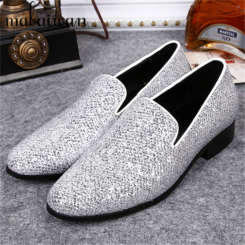 ФОТО New Fashion Ankle Trainers Espadrilles Men Silver Luxury Slippers British Mens Casual Boat Shoes Slip On Flat Shoes 38-46