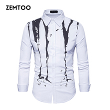 Autumn Brand Men Shirt Long Sleeve 3d Splash Ink Print 2017 Mens Shirts Casual Dress Shirts Man Shirt Camiseta Masculina ZE0346