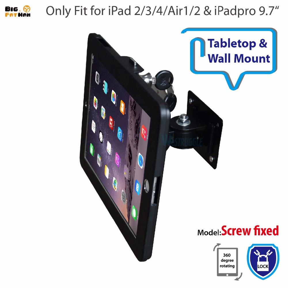 Prix pour Fit pour ipad 2/3/4/air/pro support mural en métal cas pour ipad stand affichage support tablet pc support de verrouillage soutien Ajuster la angle