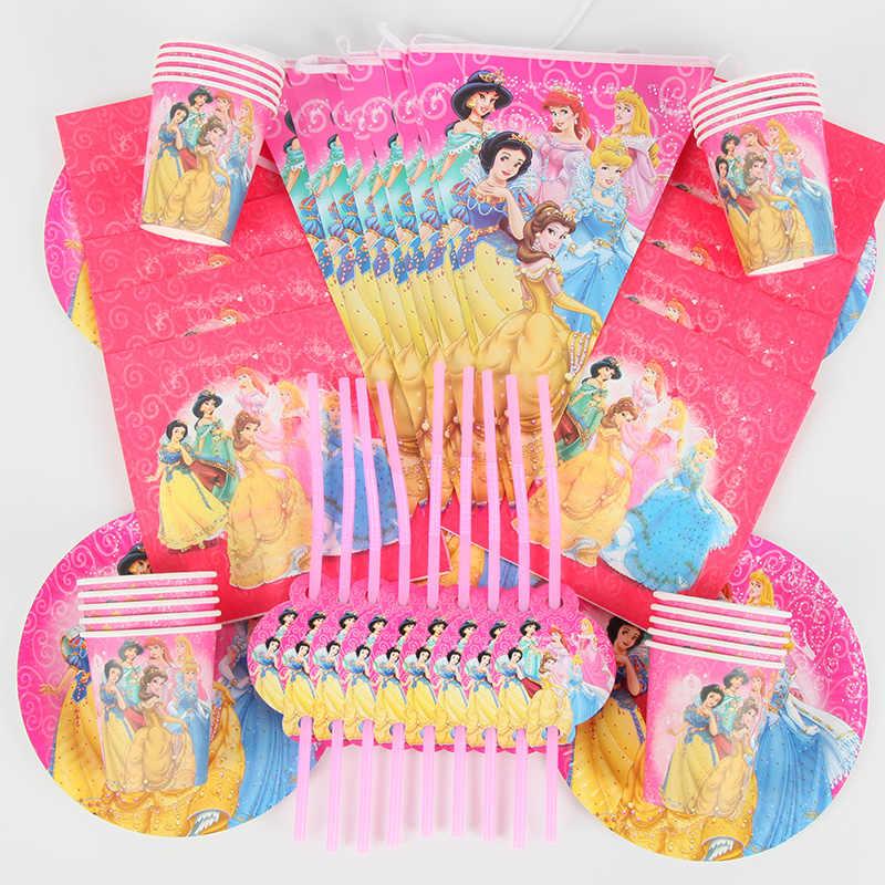 90 pçs/lote Disney Princess Festa Temática Decoração Pacote Para Crianças Festa de Aniversário Suprimentos Descartáveis Prato Copo de Palha Guardanapo Bandeira