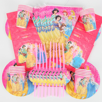 90Pcs/lot Princess Theme Party Decoration Package For Kids Birthday Party Disposable Supplies Cup Plate Straw Napkin Flag 90pcs lot princess theme party decoration package for kids birthday party disposable supplies cup plate straw napkin flag