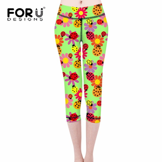FORUDESIGNS 3D Flower Printed Legging Fashion Slim Women leggings Cute Scarabs High Elastic Soft Stretch Pants female Leggins