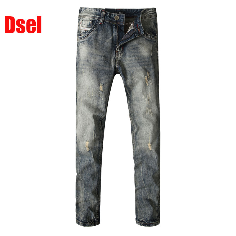 2016 Fashion Men Jeans Dsel Brand Straight Fit Ripped Italian Designer 100% Cotton Distressed Denim Homme