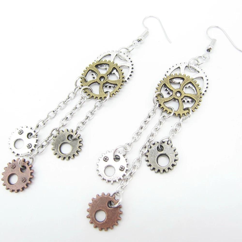 Steampunk Tassel Gear Earrings