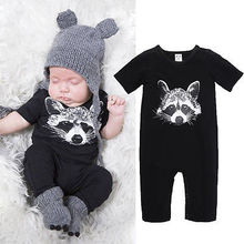 2016 Newborn Baby Romper Clothes Summer Short Sleeve Cotton Dog Print Infant Boys Body Playsuit