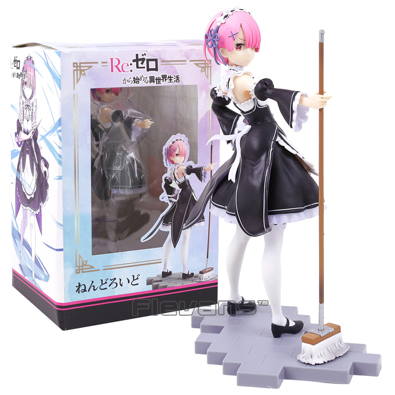 Re:Zero Starting Life in Another World Ram Maid with Mop Ver. 1/7 Scale PVC Figure Collectible Model Toy 22cm to love ru darkness figure lala satalin deviluke maid ver 1 7 complete figure toy collection anime
