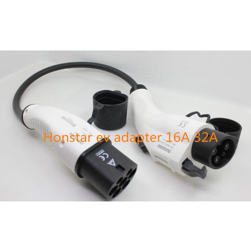 Duosida ZENCAR EVSE EV tipo adaptador SAE J1772 1 para tipo 2 16A 32A plugue elétrico carros de Carga do veículo