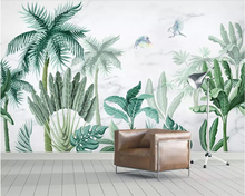 Beibehang Mural wallpaper medieval hand drawn tropical rainforest plant TV background walls living room bedroom 3d