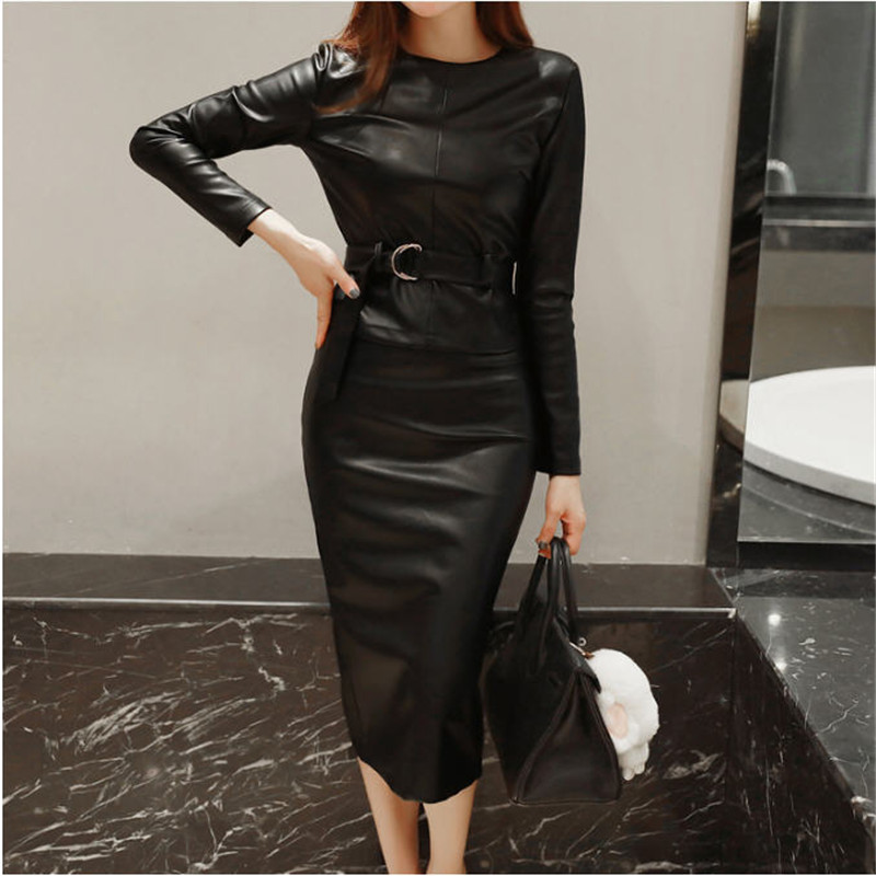 2019 Autumn Winter Korean Ladies Long Sleeve Blouse Pencil Skirt Two Piece Leather Set Women s