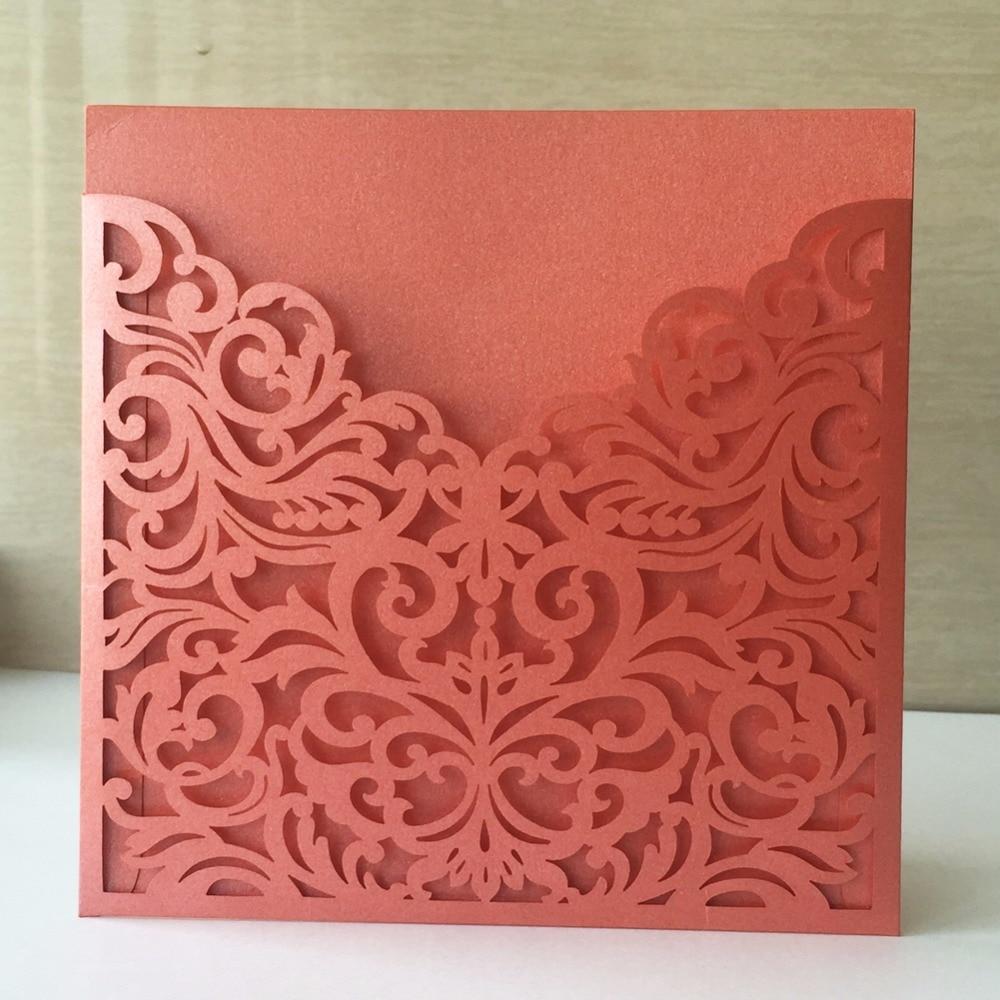 30 pieces/lot) Laser Cut Invitation Wedding Favors Pocket Invitation ...