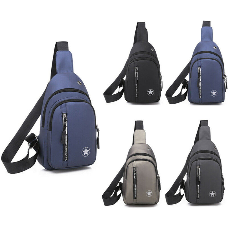 Men's Chest Sling Pack Satchel Shoulder Bag Waterproof USB Charge Small Day Pack