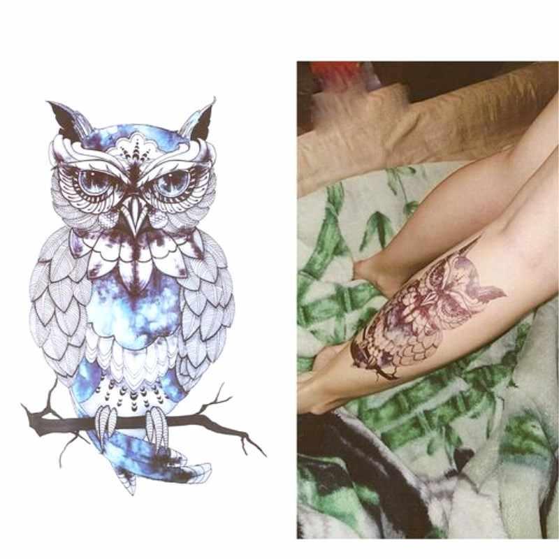 1 piezas profesional de buho azul genial nueva llegada 19*12 CM tatuaje temporal pegatinas