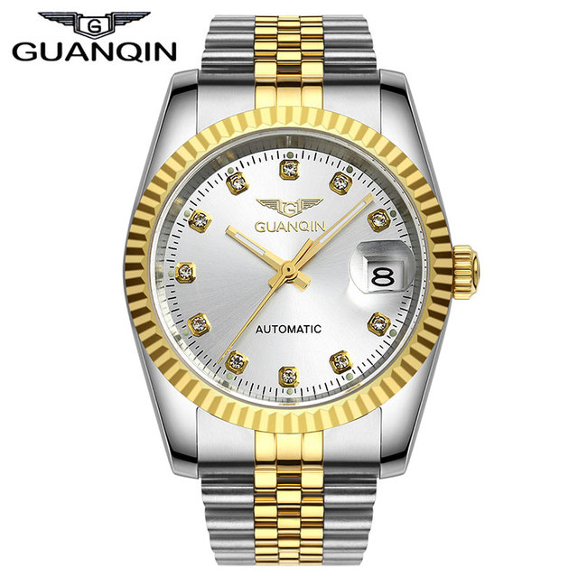 New Fashion GUANQIN Watch Rhinestone Dress Full Steel Lovers' Business Luxury Brand Automatic Mechanical Watches Men And Women