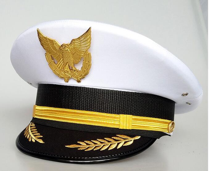 Man Women Captain Boating Military Hat Sailor Hat Uniforms Costume Party Cosplay Stage Perform Flat Navy Cool Cap Black White