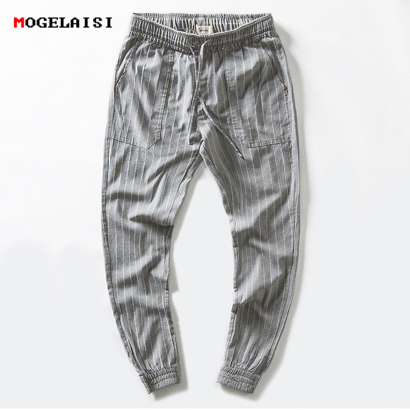 Linen Pants Men Stripe Ankle-Length Harem Linen Cotton Men's Pants Pencil Loose Linen Trousers Man Mid Waist Drawstring Pant XXL