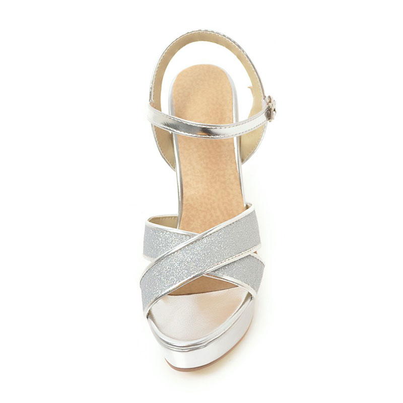 ecf978288af Fanyuan Ankle strap Gold Summer Sandals women high heel Platform Sandals  Rubber Block Heels ladies Party Wedding Glitter Sandals-in High Heels from  Shoes on ...