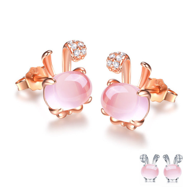 2018 New Rose White Gold Color Cute Rabbit Crystals Ross Quartz Pink Opal Stud Earrings