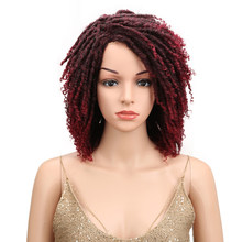 "Noble 12"" Soft Short Synthetic Wigs For Black Women Full Head Dreadlock Ombre Burg Crochet Twist Hair High Temperature Fiber(China)"