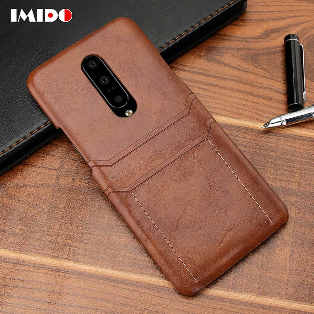 IMIDO Luxury Leather PU Phone Case For One Plus 7 Pro 6 6T Silicone Wallet Card Back Cover Coque Fundas Capa