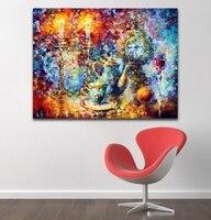 100% Handgeschilderd Olieverfschilderij Abstract Candlelight servies Muziekinstrumenten Canvas Schilderij Wall Art voor Woonkamer