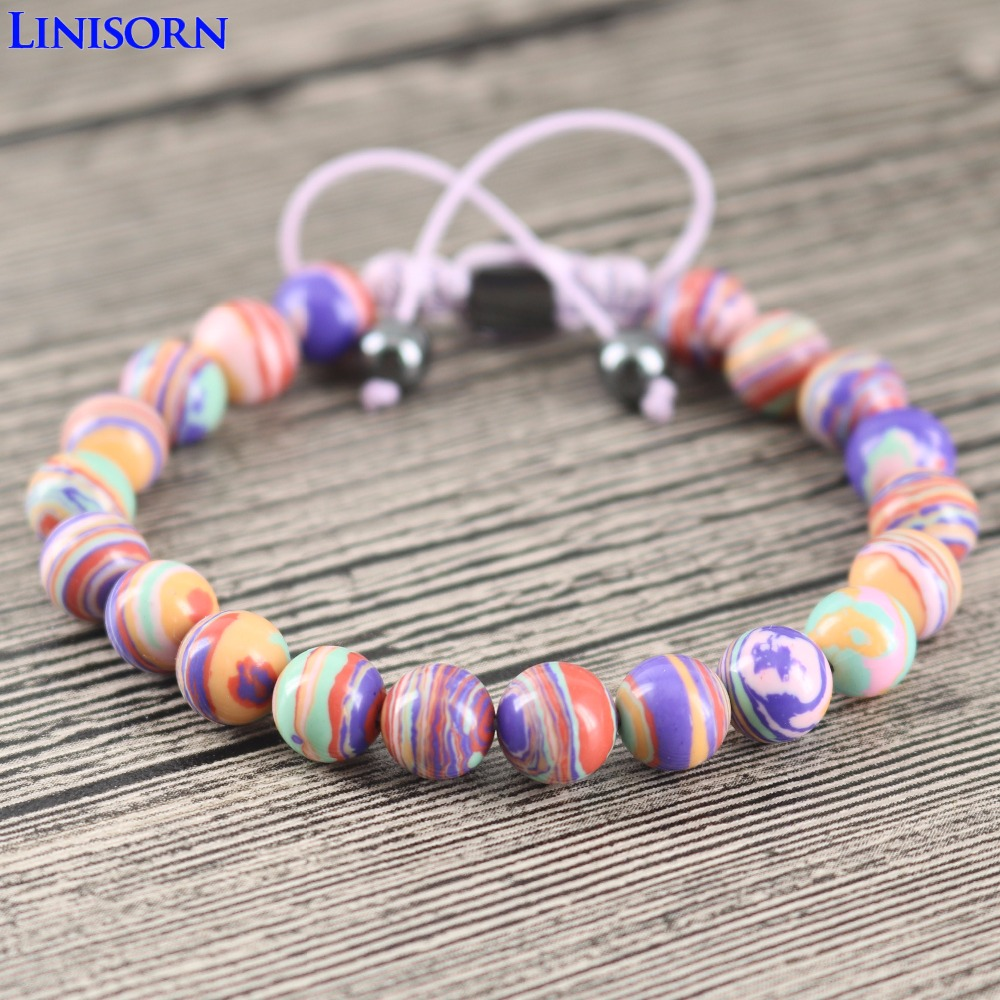 LINISORN Purple Peacock Stones Cute OL styles Lady Fashion Wrap Bracelets Handmade Braided Hematite Clasp Beads end